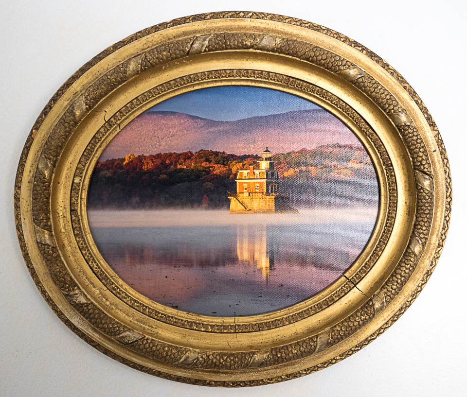 Hudson-Athens Lighthouse in 12x15 oval frame. Photo on canvas by B. Docktor