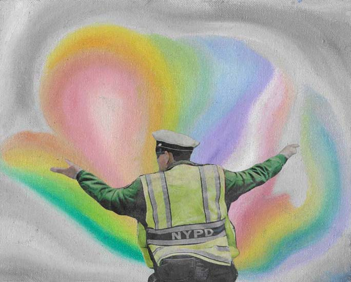 "Rebecca Becker  ""NYPD Rainbow""   mixed media    2016"